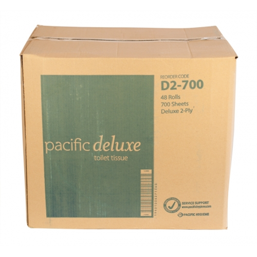 2 Ply Pacific Deluxe 700 Sheet Toilet Rolls