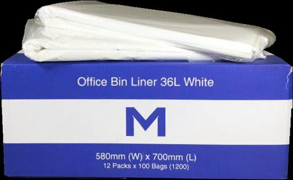 36 Litre White Office Bin Liners